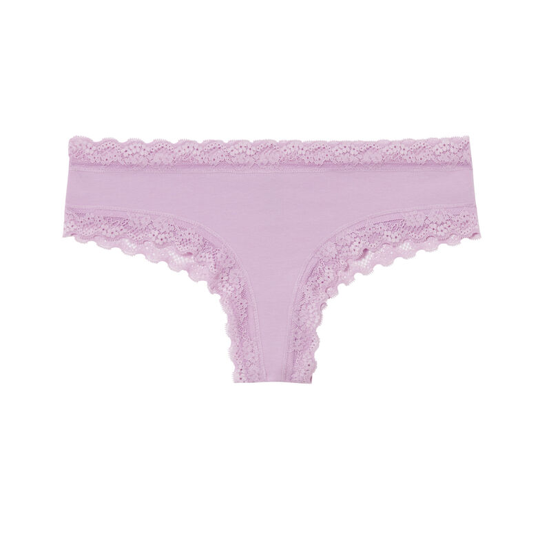 Shorty in plain cotton and lace - lilac;