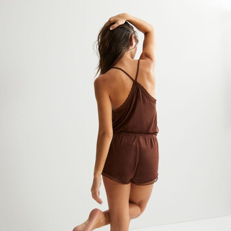 plain jersey shorts - brown;