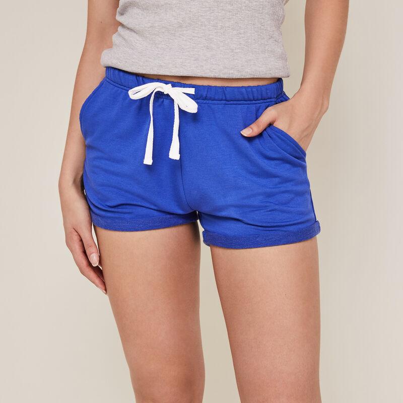 Plain fleece shorts - blue ;