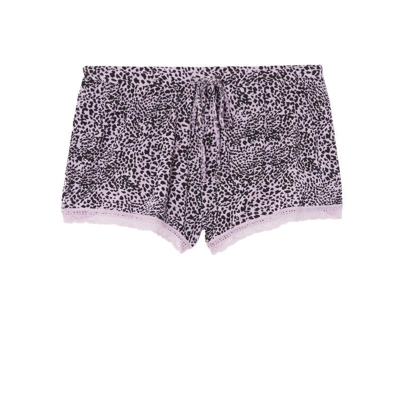 leopard print jersey shorts - lilac;