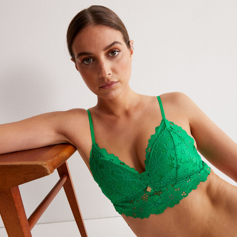 triangle padded 100% lace bra with jewellery - green;