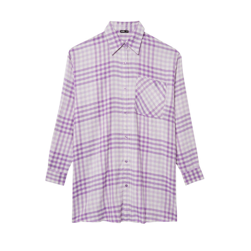 безразмерная рубашка в клетку - фиолетовый;