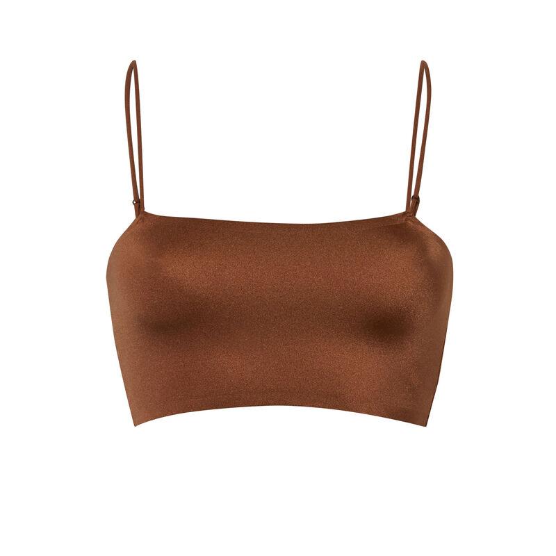lace wireless bra with spaghetti straps - brown;
