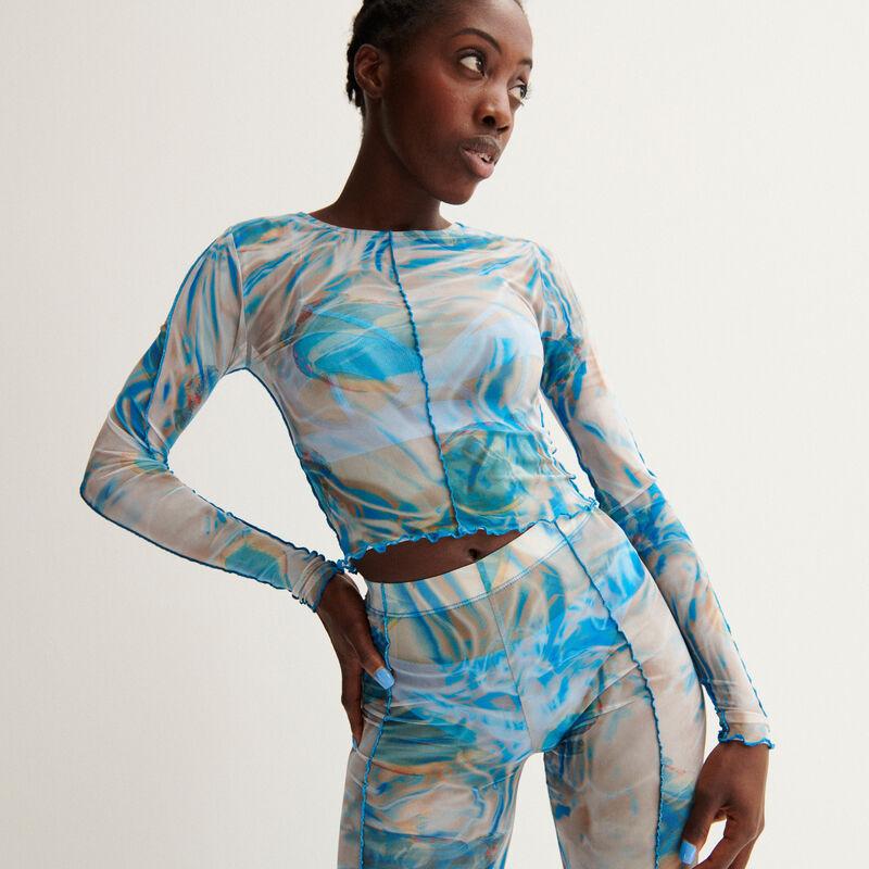 Aya x undiz mesh smoke print top - blue;