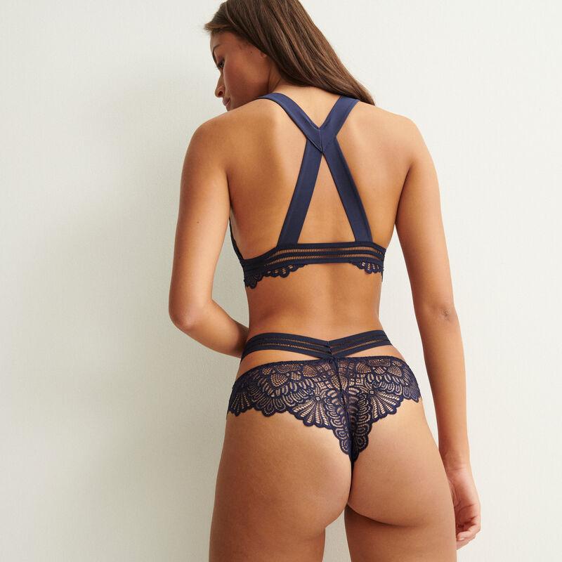 Back crossover strap triangle bra - navy blue;