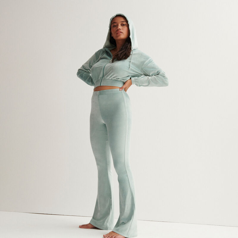 Velvet cropped jacket with an elasticated waist - pale green;