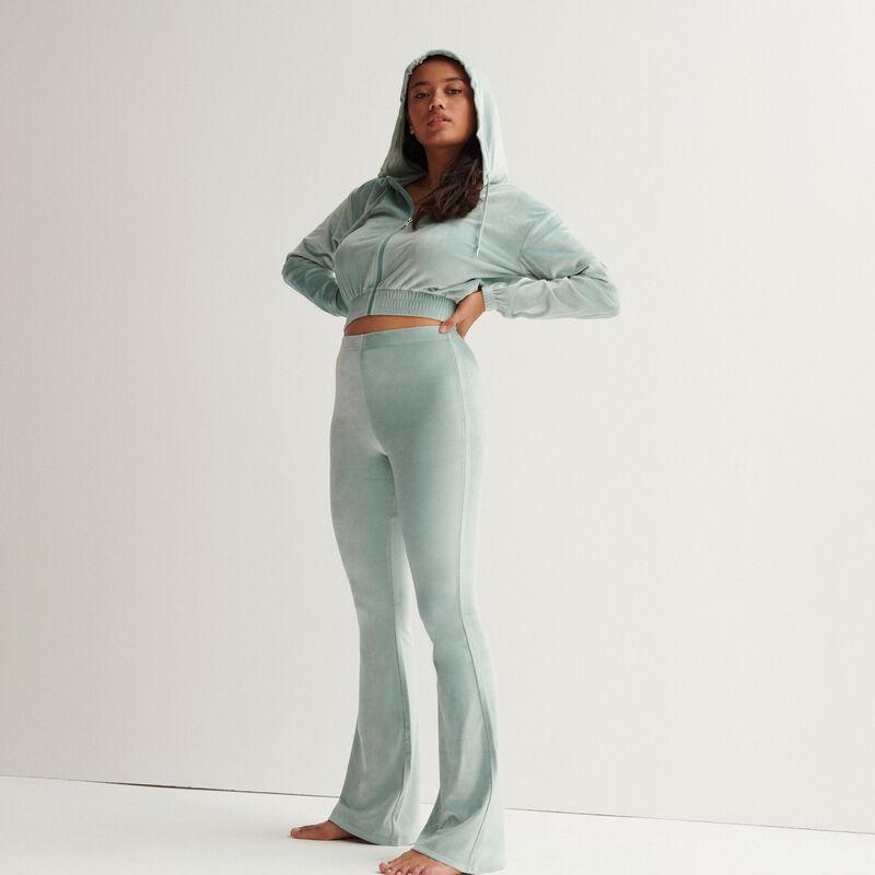 welurowa krótka kurtka z elastyczną talią — kolor morska zieleń;