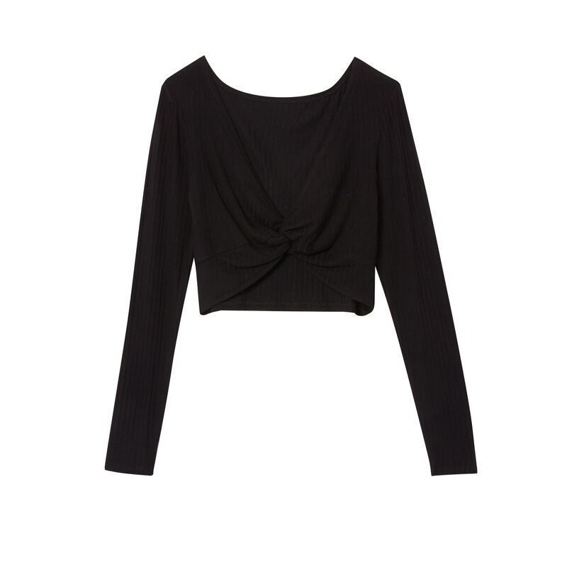 reversible bow effect top - black;