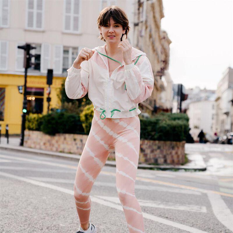 спортивная куртка с молнией и шнурками - розовый;