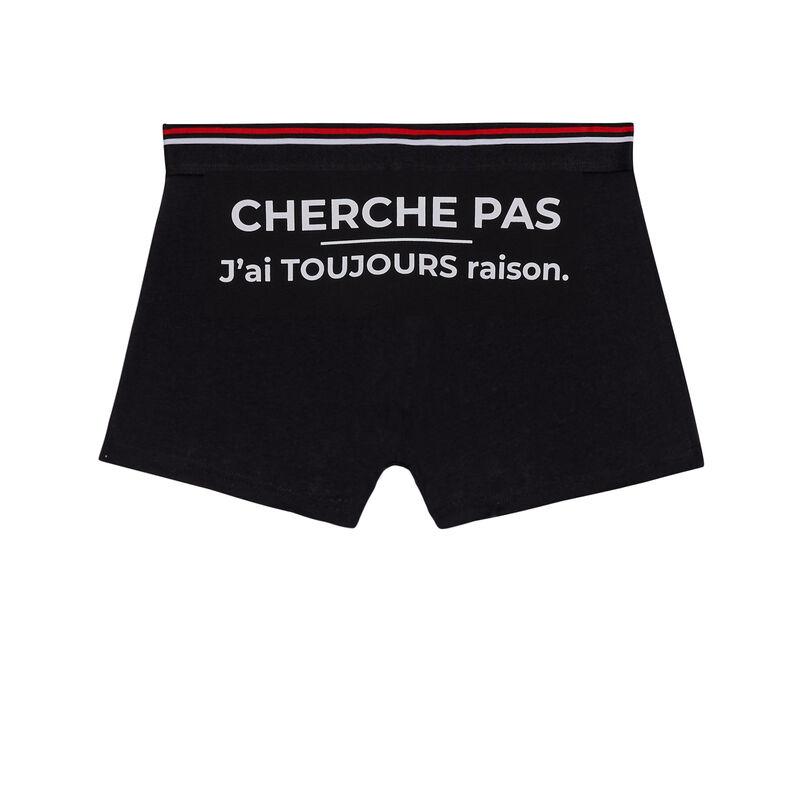 Cotton boxers with slogan - black;