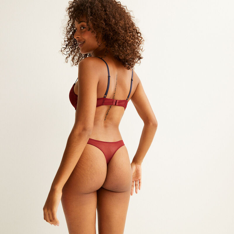 padded lace bra - burgundy;