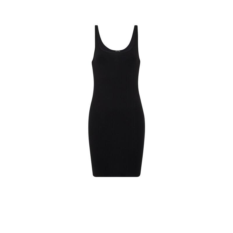 Plain tank top dress - black;