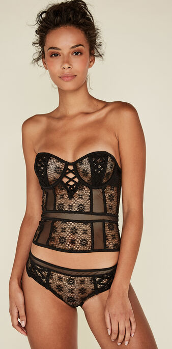 Lacageriz black underwired bustier black.