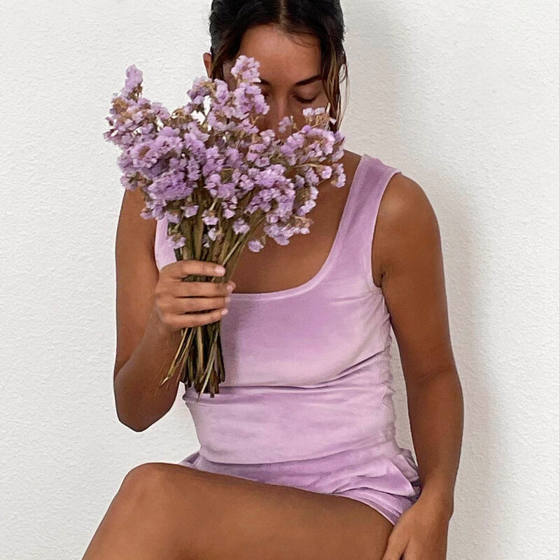 braletka z weluru — kolor liliowy;