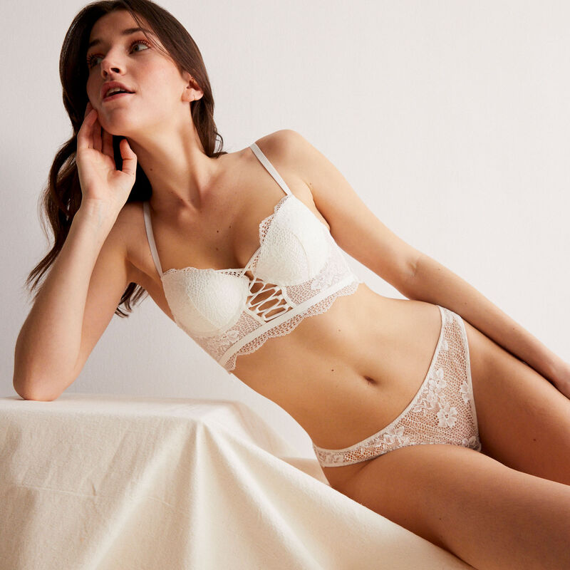 lace tanga briefs with lacing - off-white;