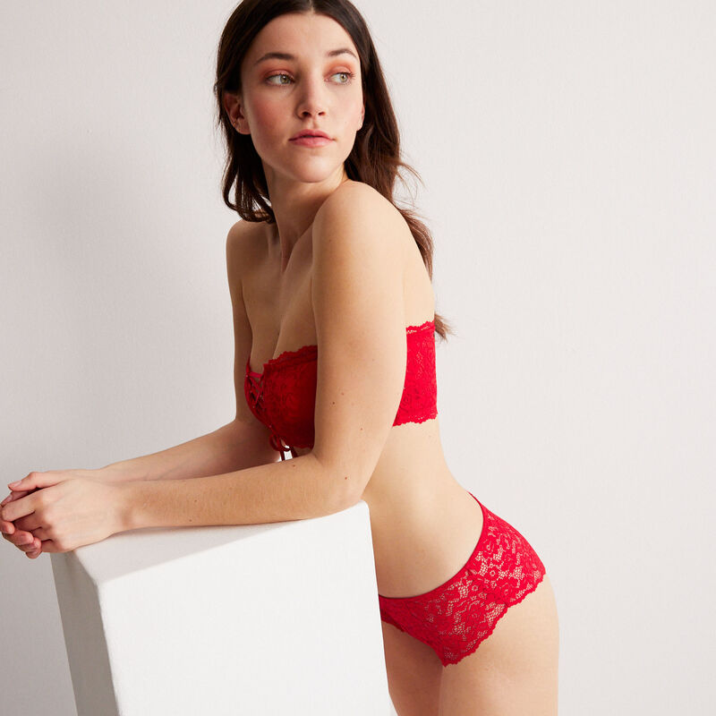 floral lace shorty - red;