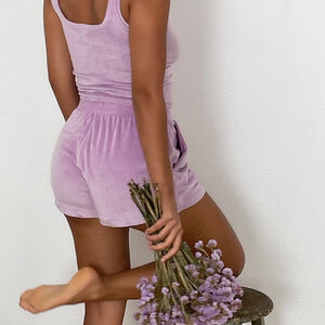 Plain velour shorts - lilac
