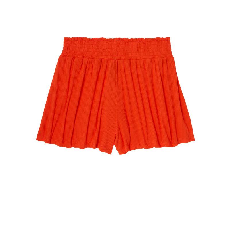 шорты в рубчик со сборками на поясе - коралловый;