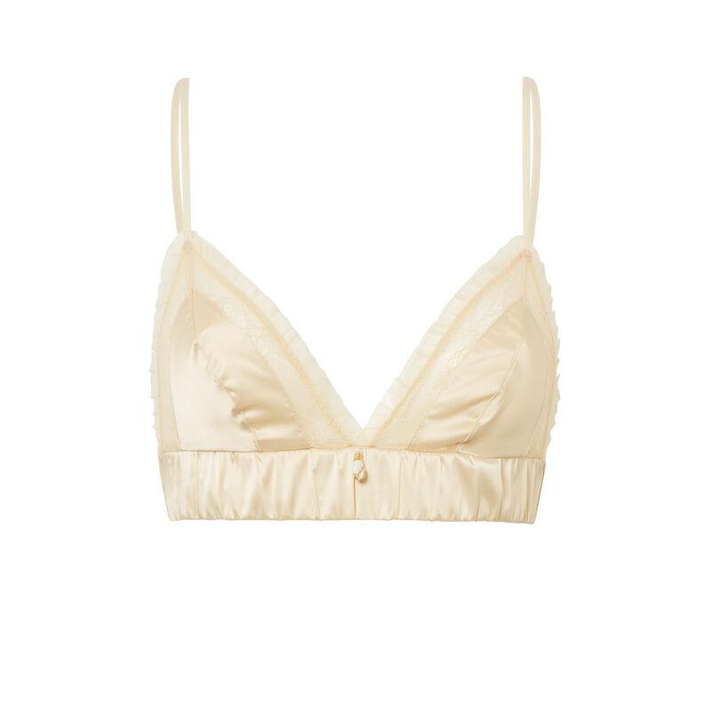 Gloss-effect triangle bra - off-white;