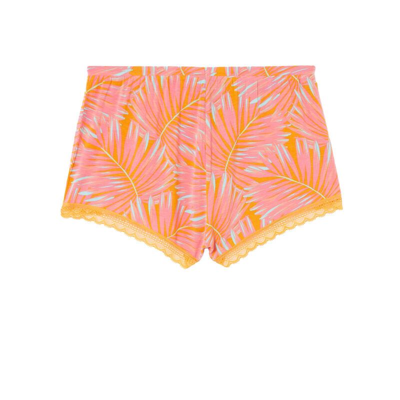 tropical print jersey shorts - mango;