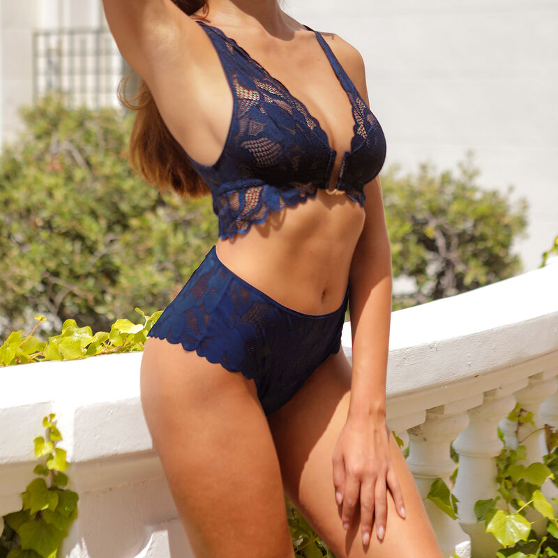 Lace high-waisted briefs - navy blue;