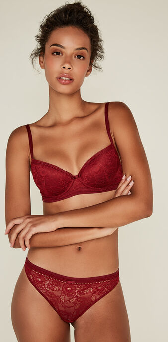 Revoltiz burgundy padded bra biking red.