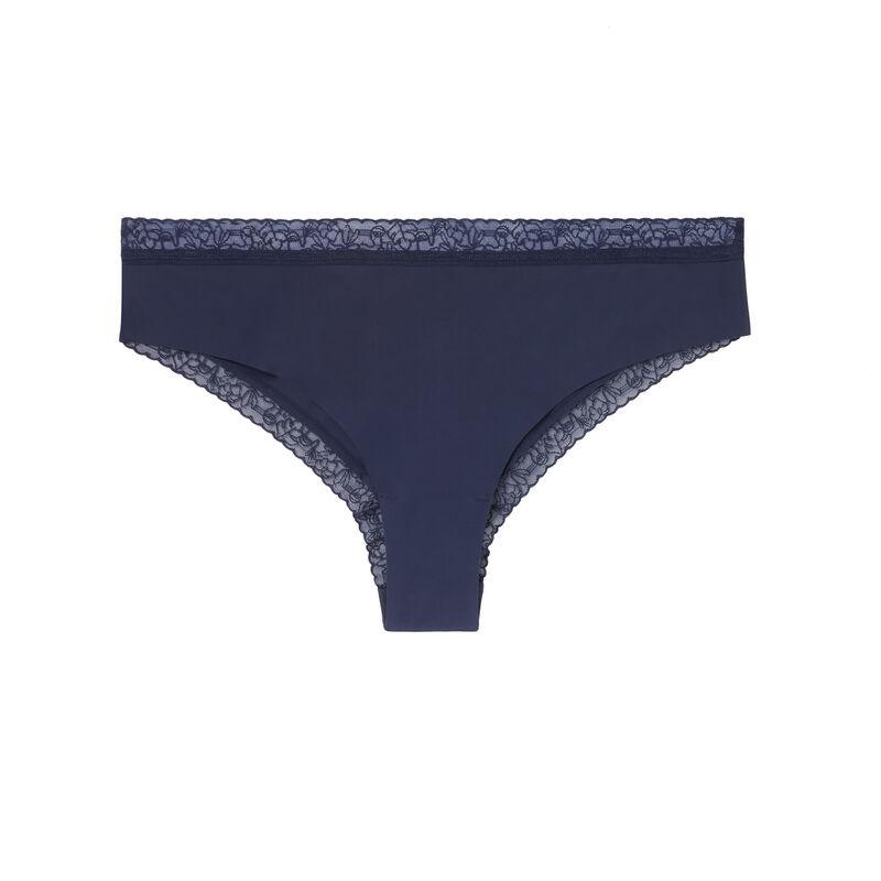 трусики-шорты из микрофибры и кружева - темно-синий;
