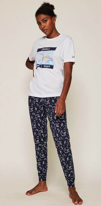 Trousers with cinderella trademark pattern  navy blue.