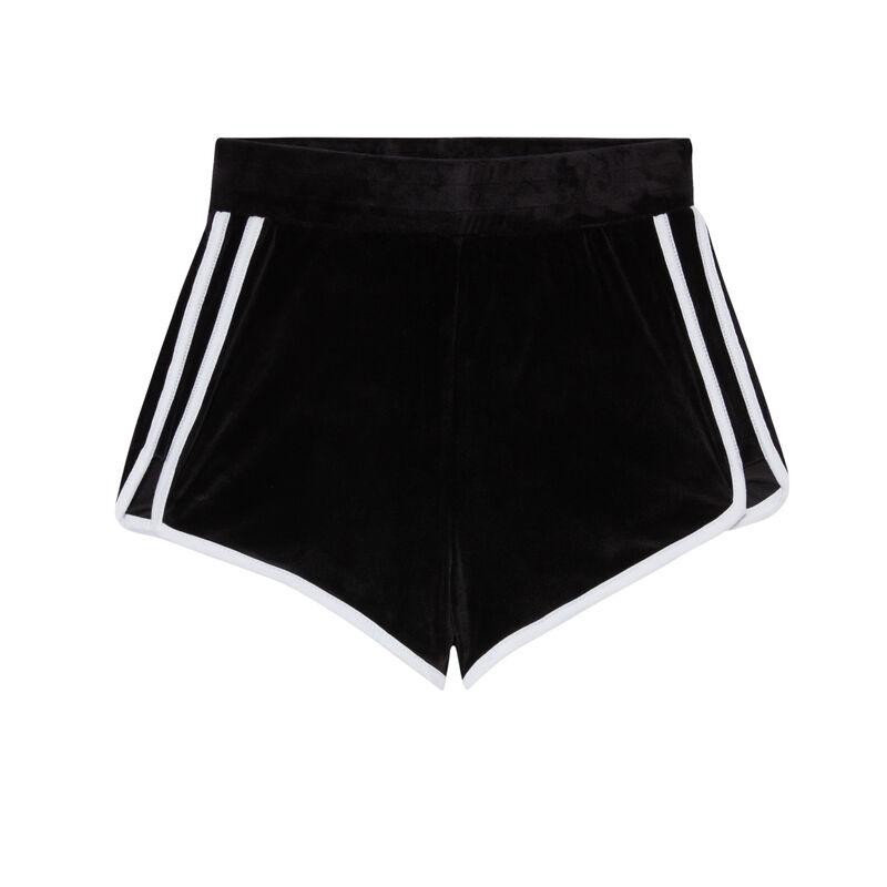 velvet shorts - black;