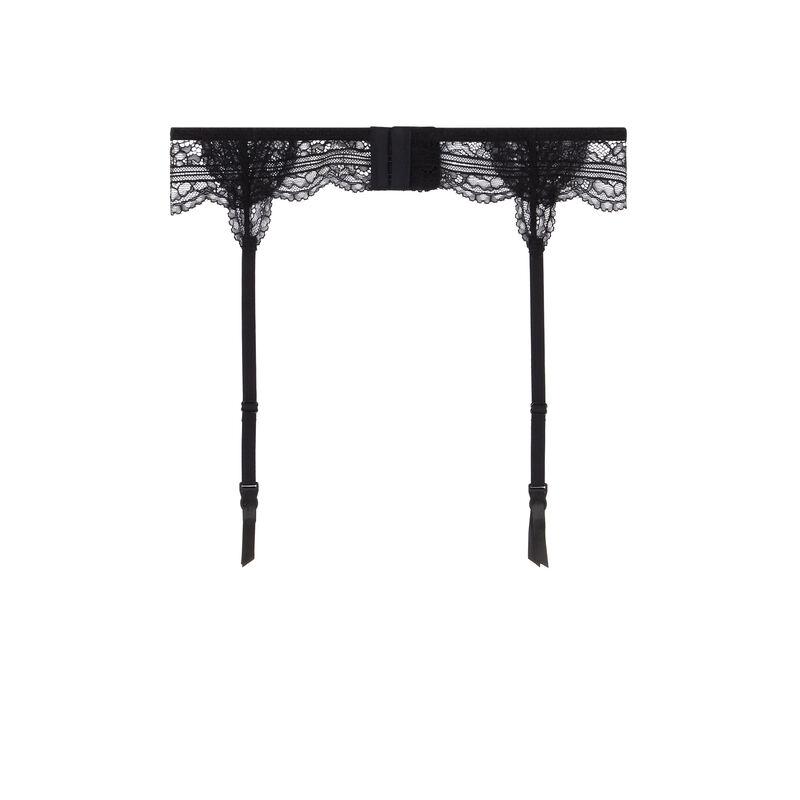 lace suspender belt - black;