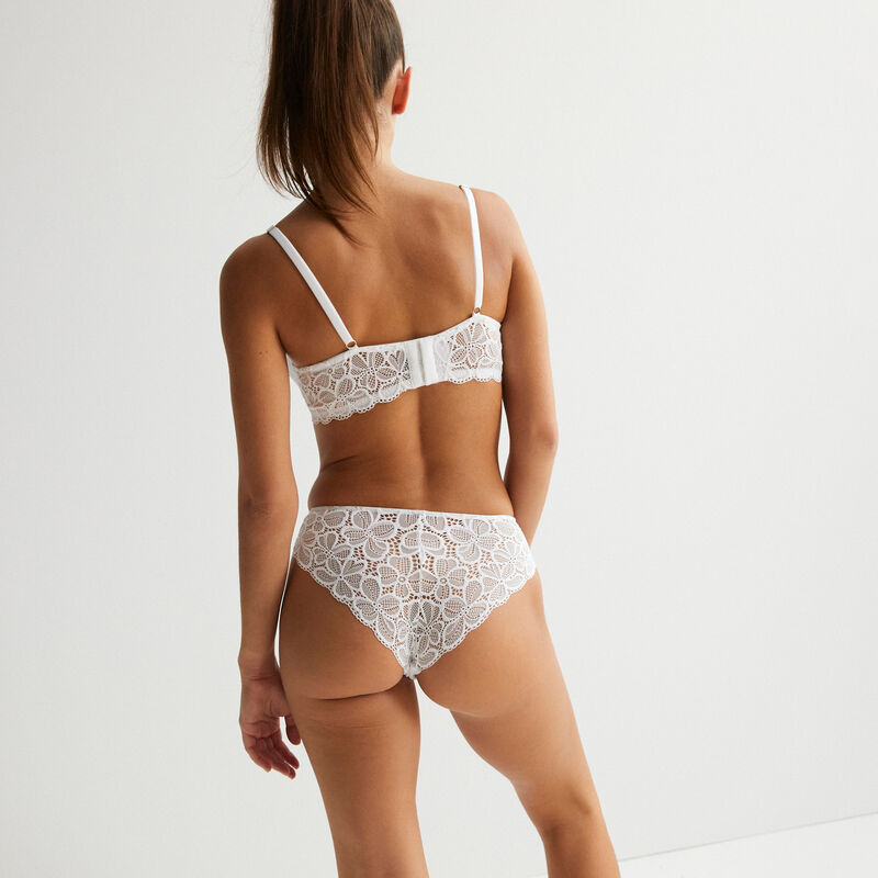 padded bustier bra with lacing - white;