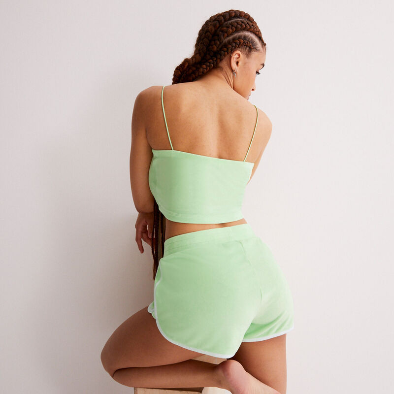 velvet top with thin straps - green ;