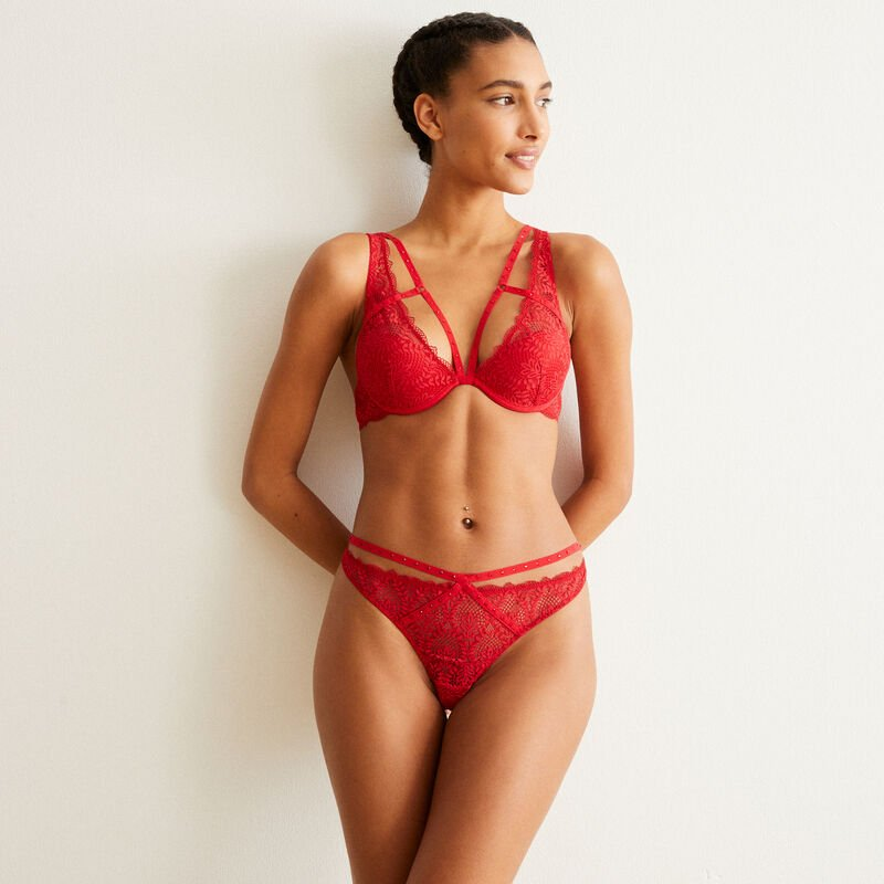 lace and lacing triangle bra - red;