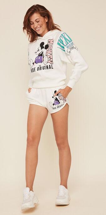 Shorts aus molton mit micky-print mickeymousiz gebrochenes weiß.