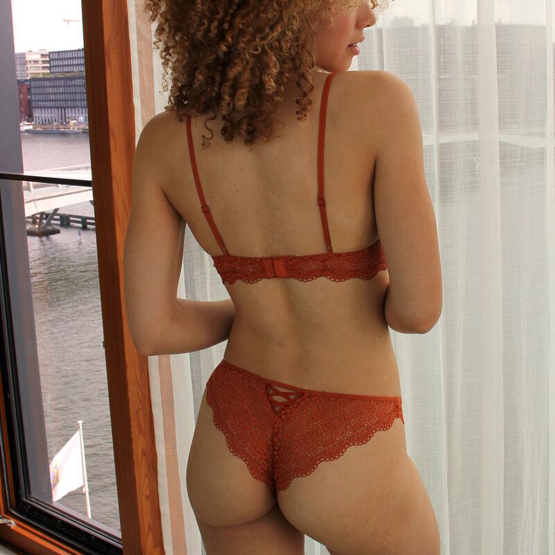 Lace tanga briefs - brown;
