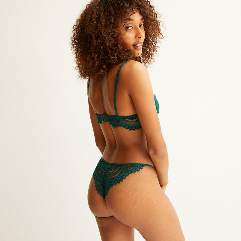 mesh and floral lace padded bra - fir green;