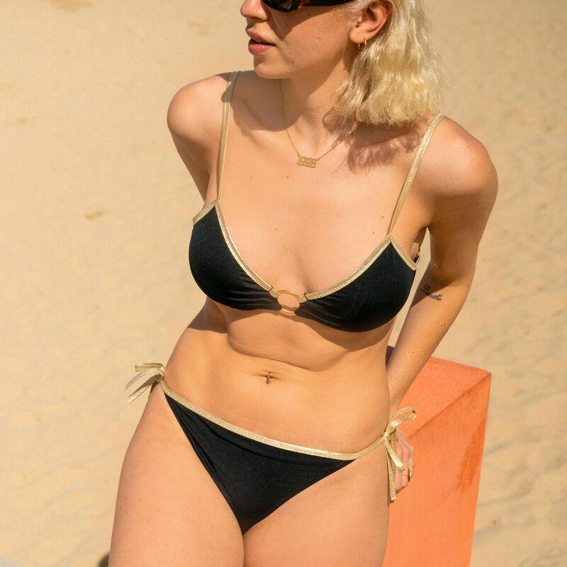 Bralette bikini top with golden ring - black;