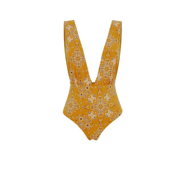 Jodhpuriz mustard yellow one-piece swimsuit;