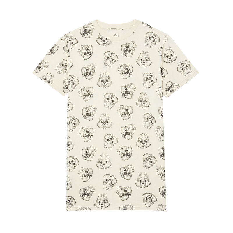night shirt with Chip 'n Dale motif - beige;
