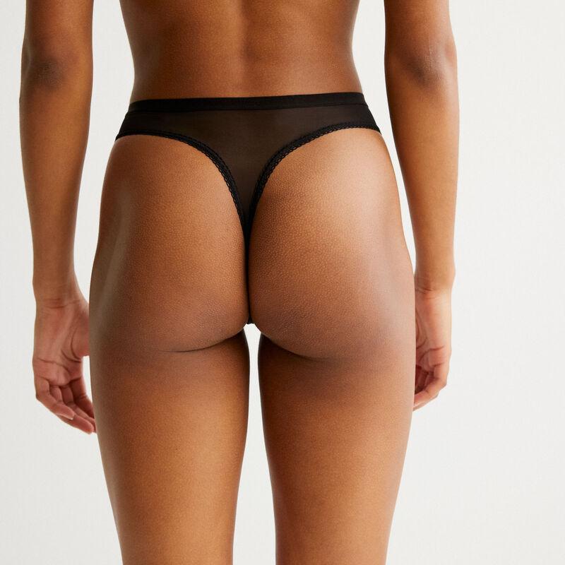 plain tulle thong - black;