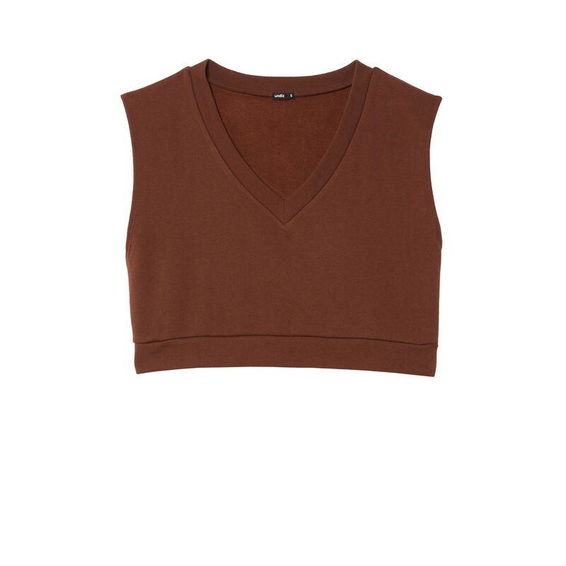V-neck sleeveless sweatshirt - brown;