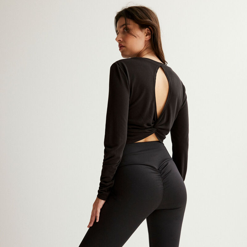 twisted backless top - black;
