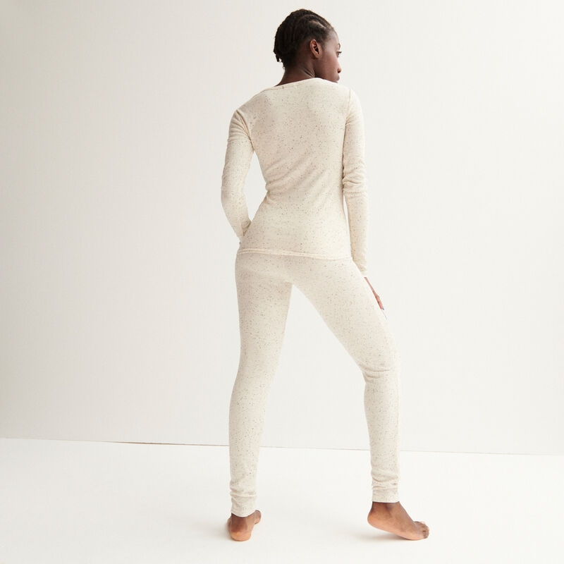 Ribbed V-neck top with buttons - off-white;