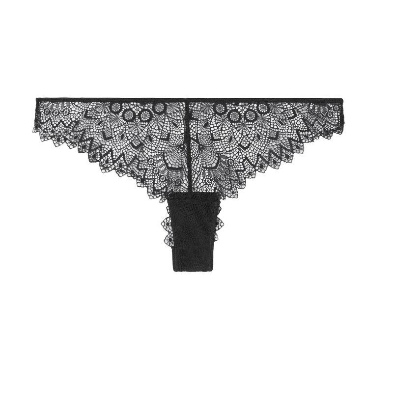 brazyliany tanga z wiązaniem i gipiurą z tyłu — kolor czarny;