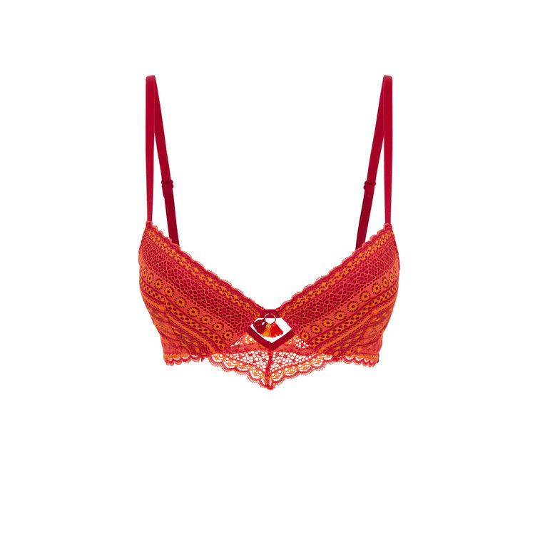 Colorlaciz orangey-red push-up bra;