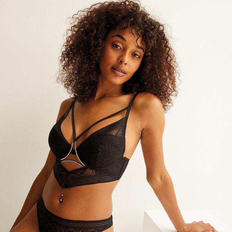 push-up bra with ties and rhinestones - black;