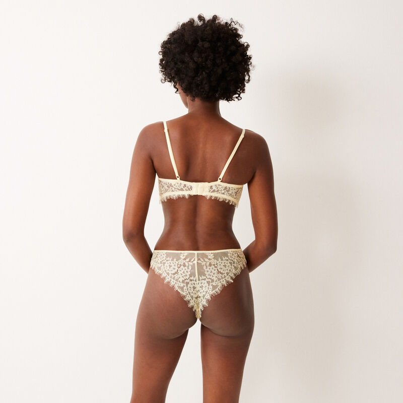 fine lace tanga briefs with beads - off-white;