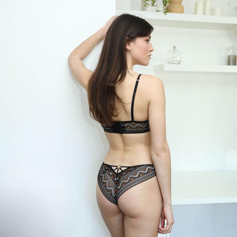 two-tone lace push-up bra - black;