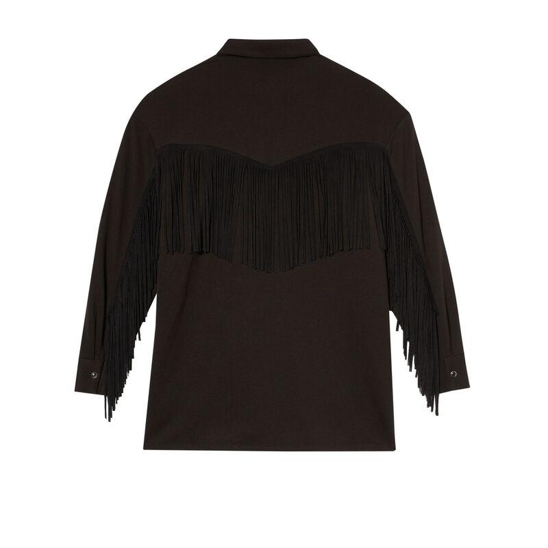 рубашка с бахромой - черный;