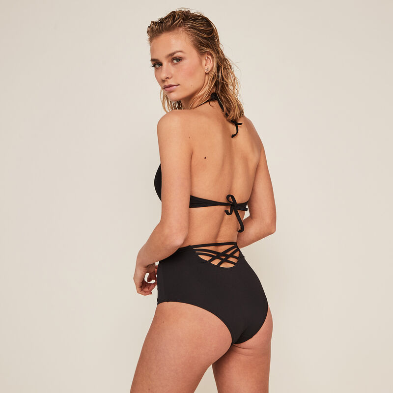 High-waisted bikini briefs - black;